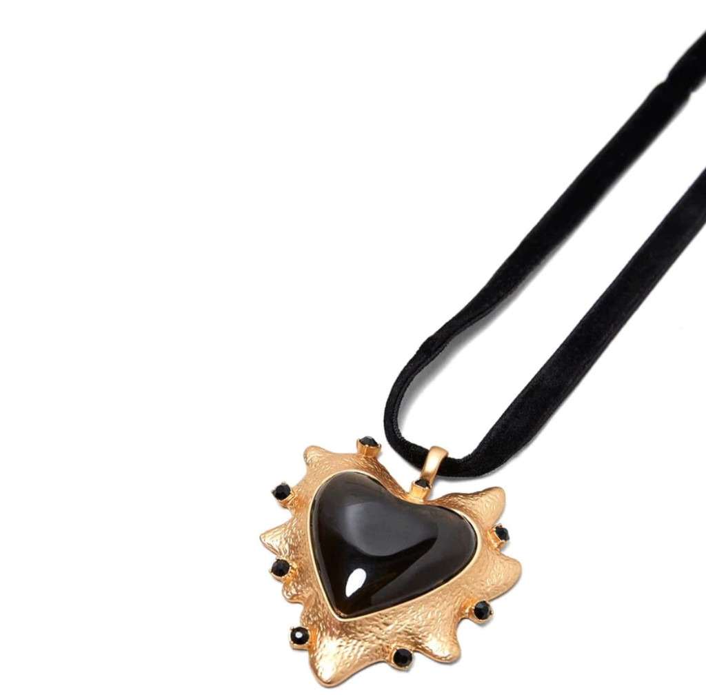 """""""My Giant Black Heart"""" Artisan Necklace"""
