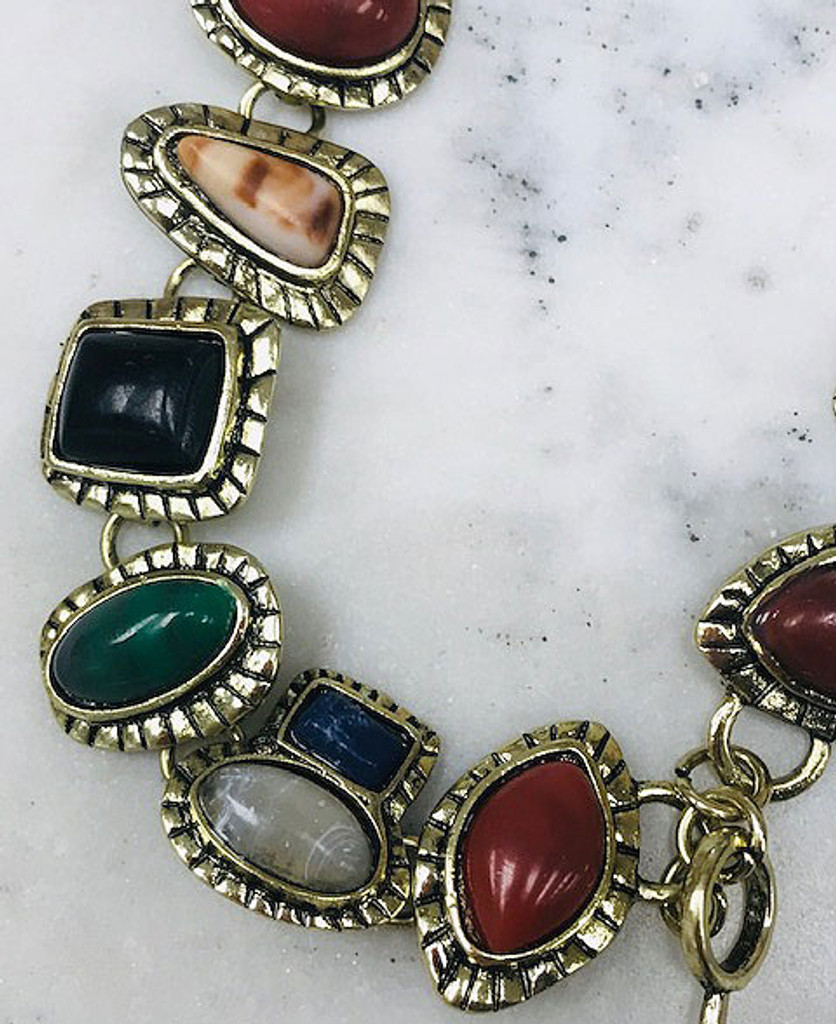 Large Polished Stones Statement Necklace