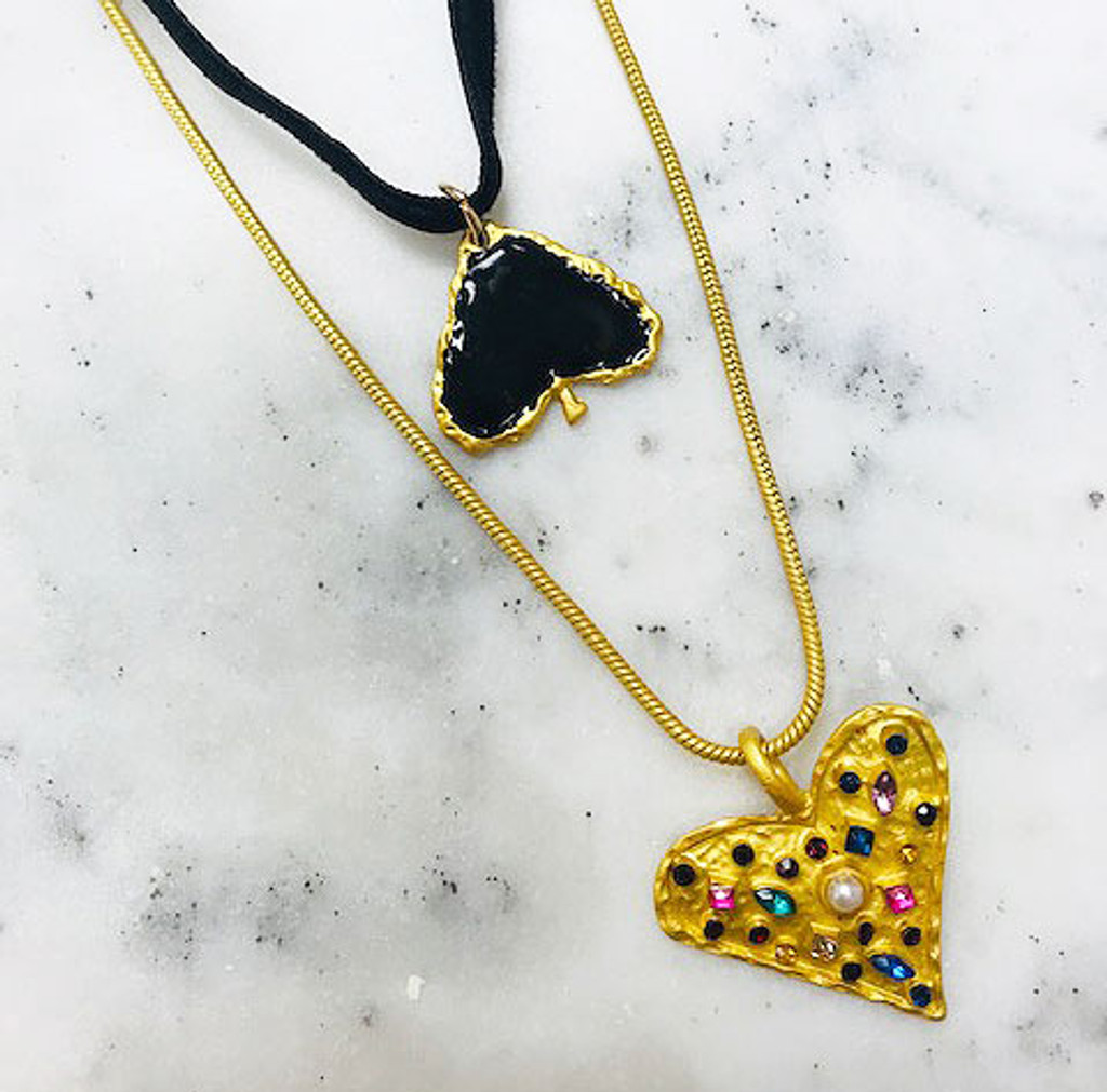 Two Layered Necklaces-Spade & Hearts