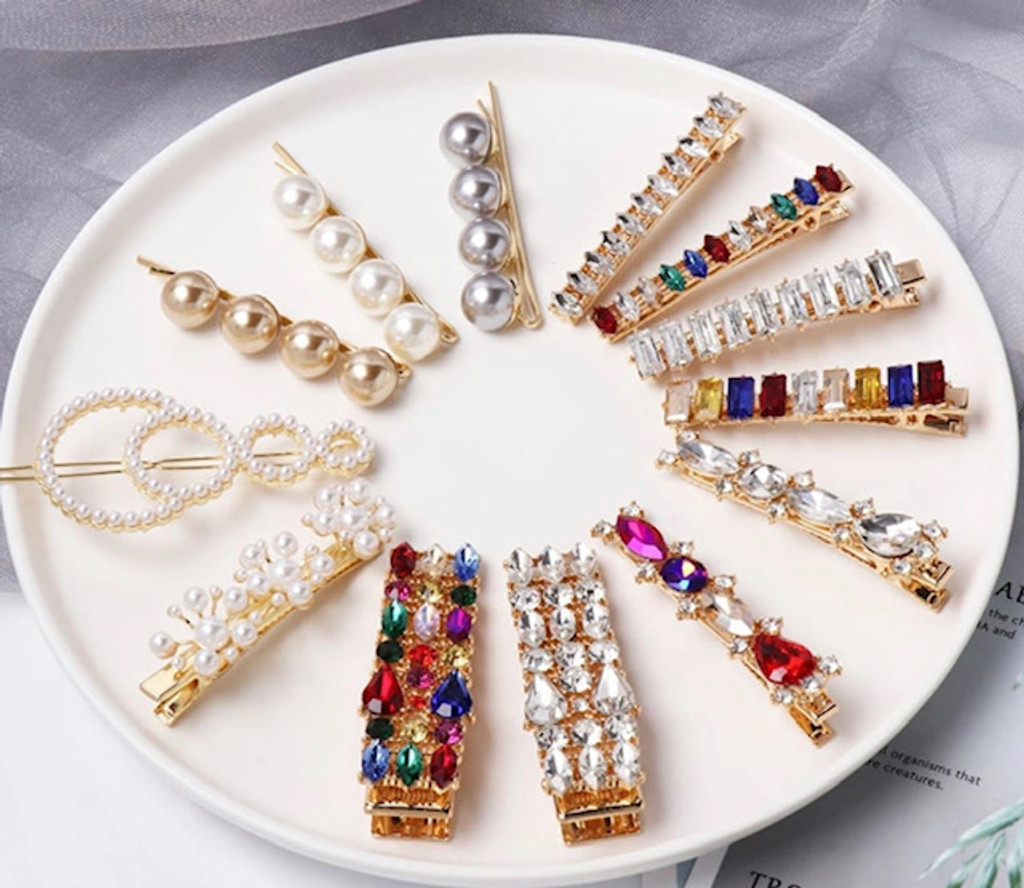 Four Different Colored Gems Hair Clip