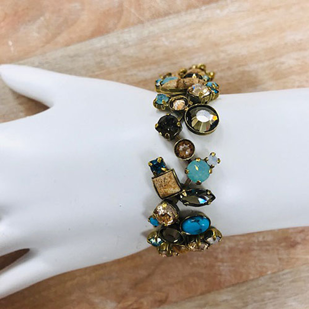 Sorrelli Wide Crystal and Cabochons Driftwood Bracelet