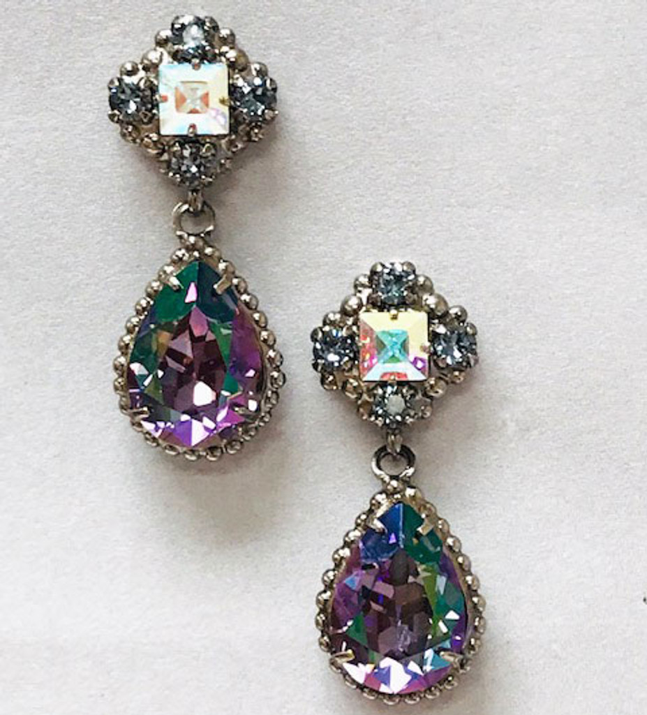Sorrelli Lavender Peacock Pear Crystal Drop Earring