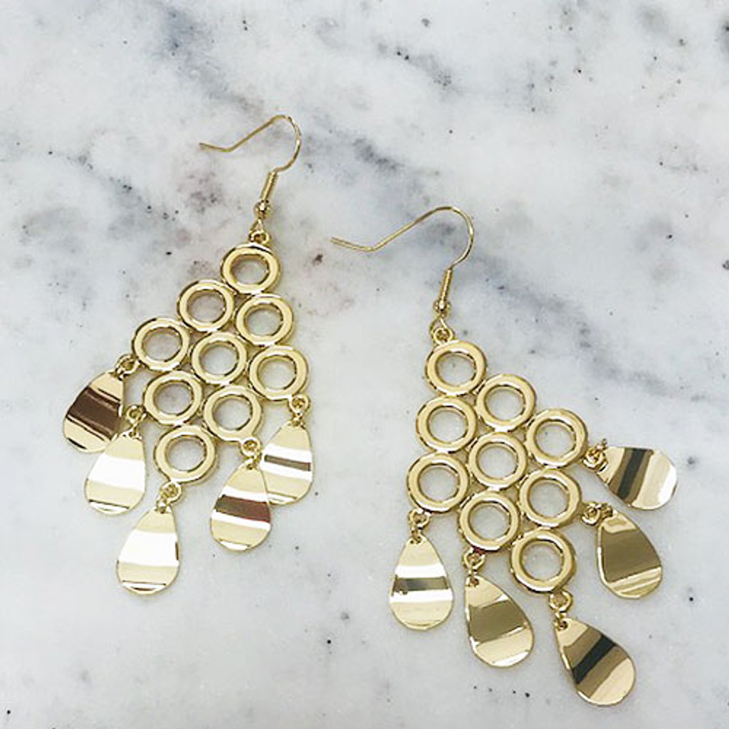 Connected Ovals Chandelier Earring in Gold