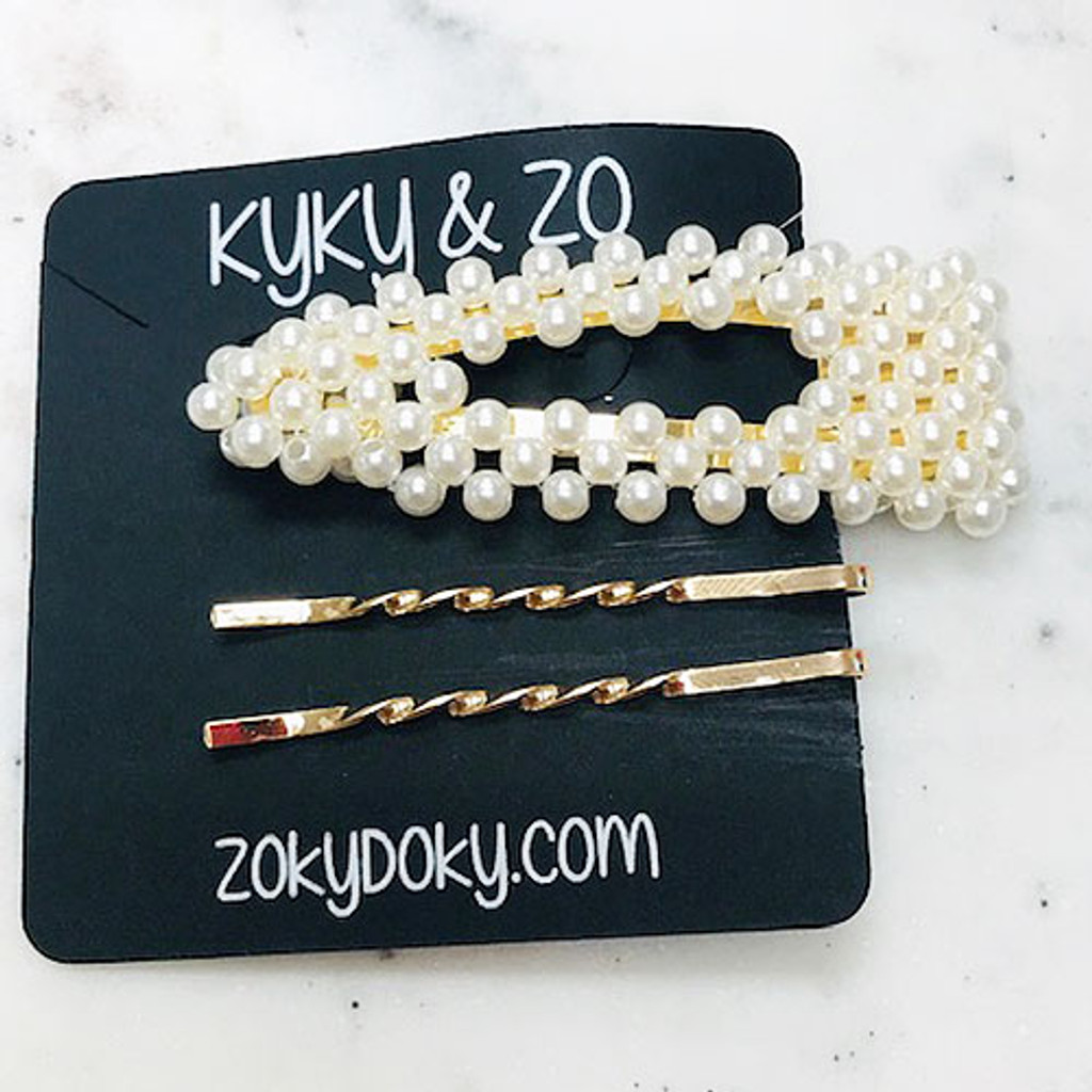 Pearly Open Center Bobby Pin & Two Gold Twisted Set