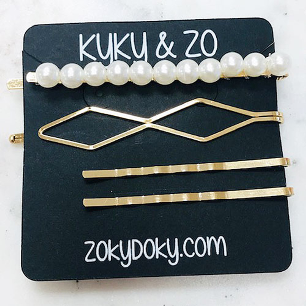 Pearl Bar, Golden Helix & Two Wavy Bobby Pin Set