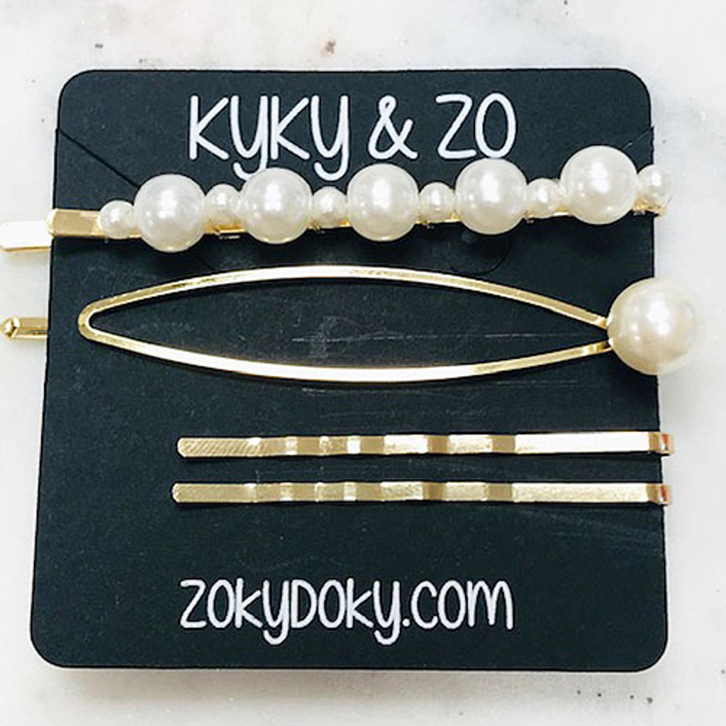 Large Pearl, Open Loop & Wavy Gold Bobby Pin Set