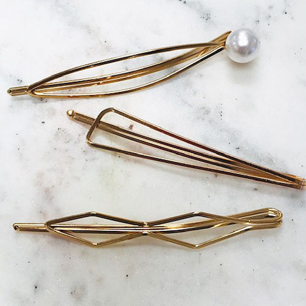 Open Gold Geometric Bobby Pins
