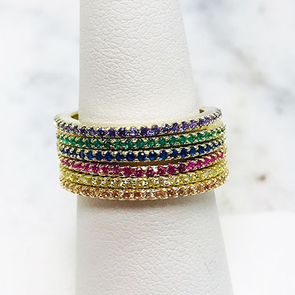 Set of Six Colored Cubic Zirconia Slim Eternity Rings