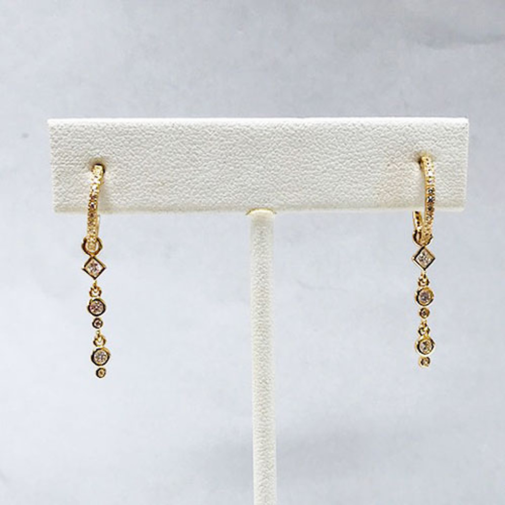 Gold or Silver Cubic Zirconia Petite Hoops with Geometric CZ Dangle Charm