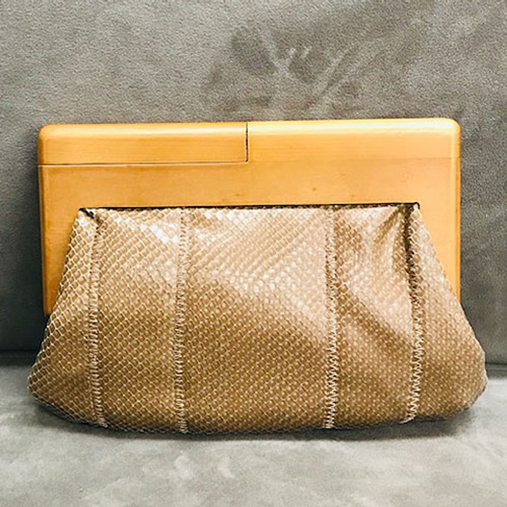 Sondra Roberts Squared Faux Snakeskin Clutch with Wood Frame