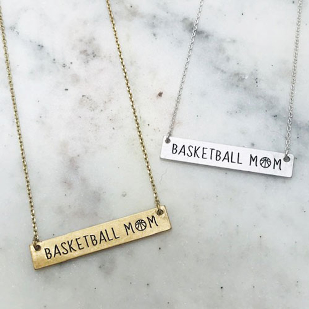 Basketball Mom Etched Bar Necklace