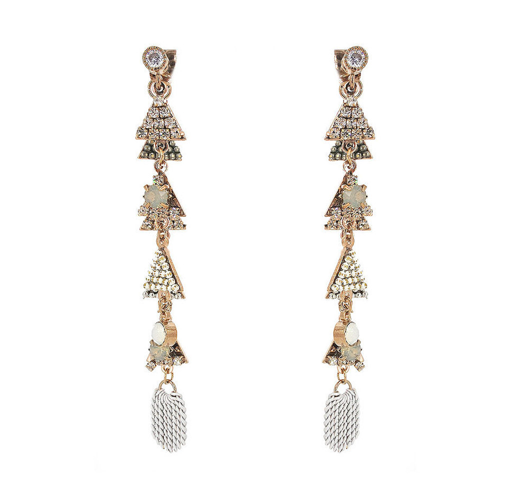 Shades of White Linked Crystal Pyramid & Chain Earring