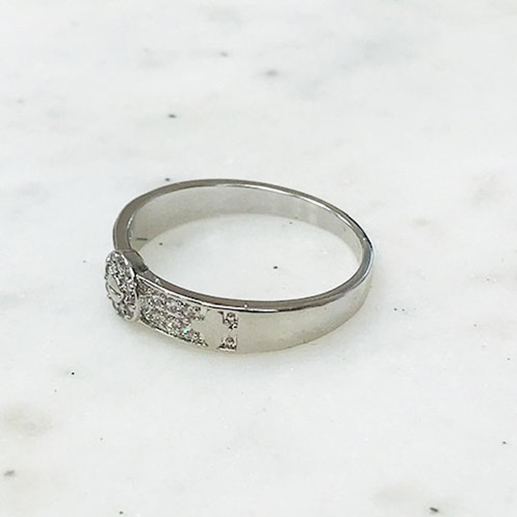 Pave Bracelet/Ring Set with Small Flower Stations