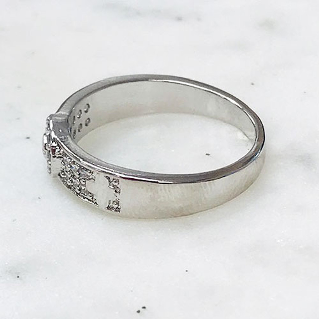 Pave Bracelet/Ring Set with Small Pave Flower Station