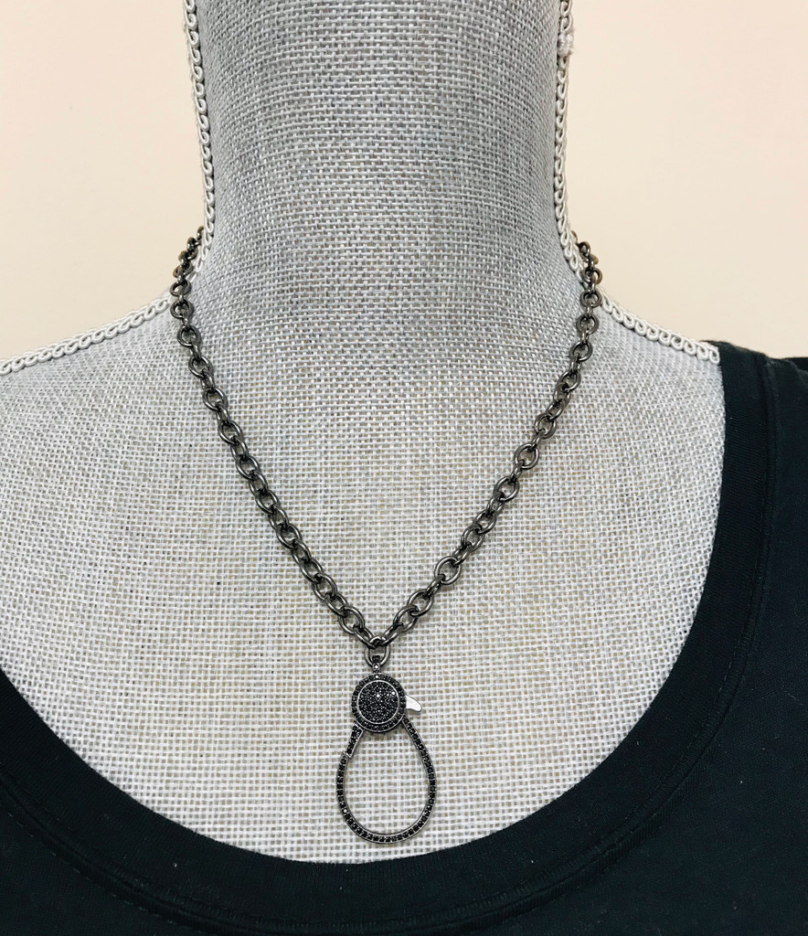 Large Loop Cubic Zirconia Black Lobster Claw Chain Necklace