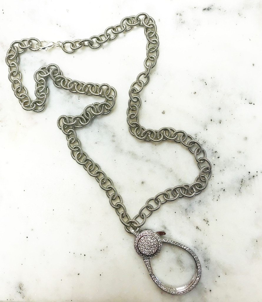 Large Loop Cubic Zirconia Silver Lobster Claw Chain Necklace
