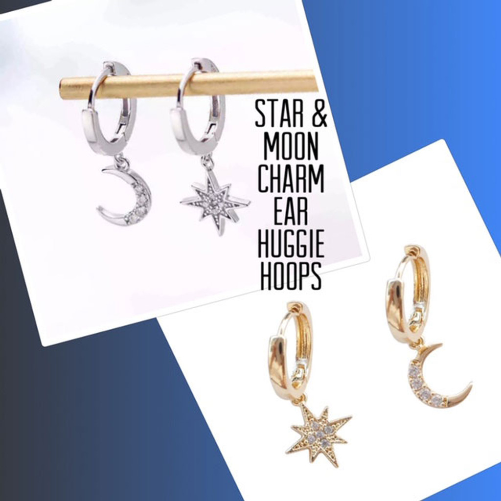 Dainty Huggie Hoops with a Star and Moon Charm