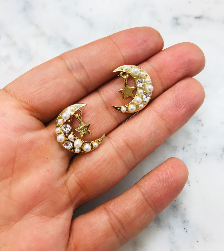 Pearl Encrusted Crescent Moon Stud Earrings