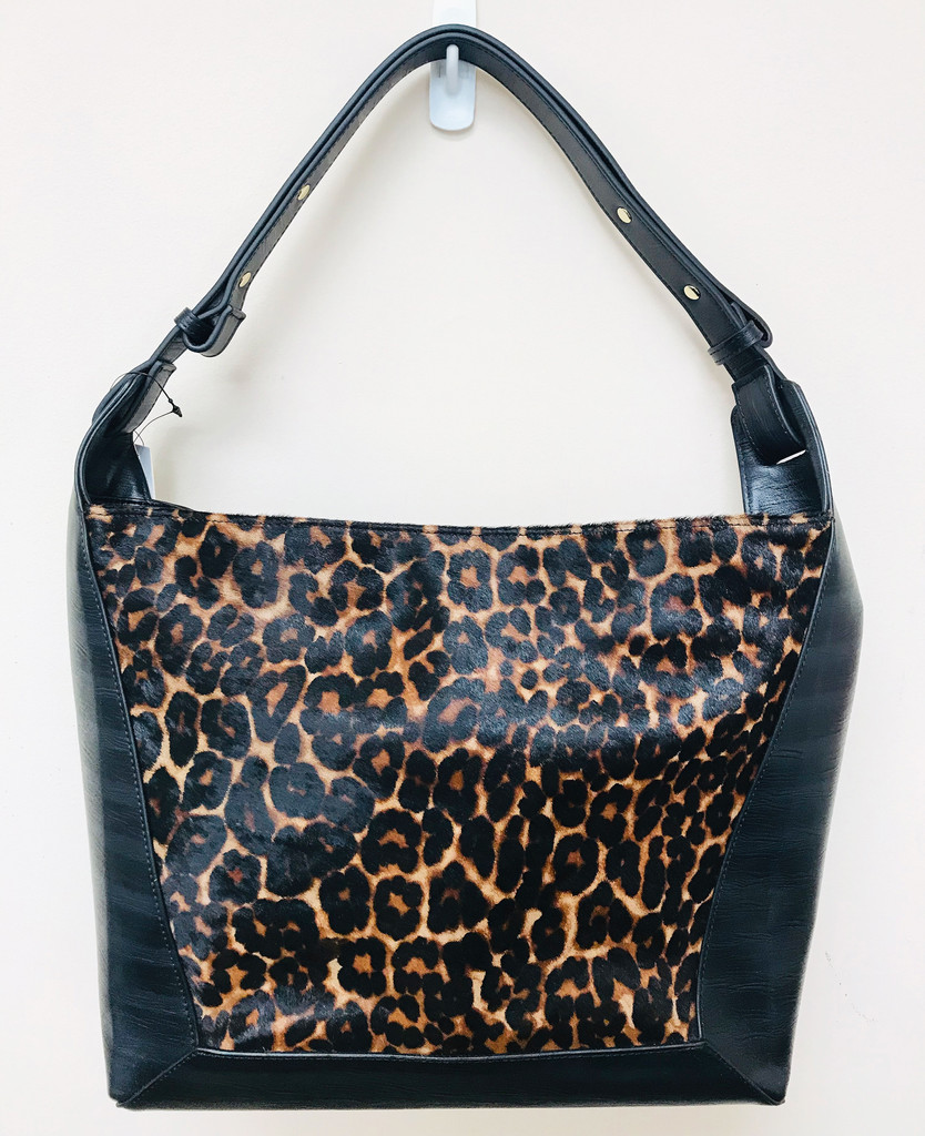 Sondra Roberts Black Leather with Leather Hair Calf Shoulder Bag