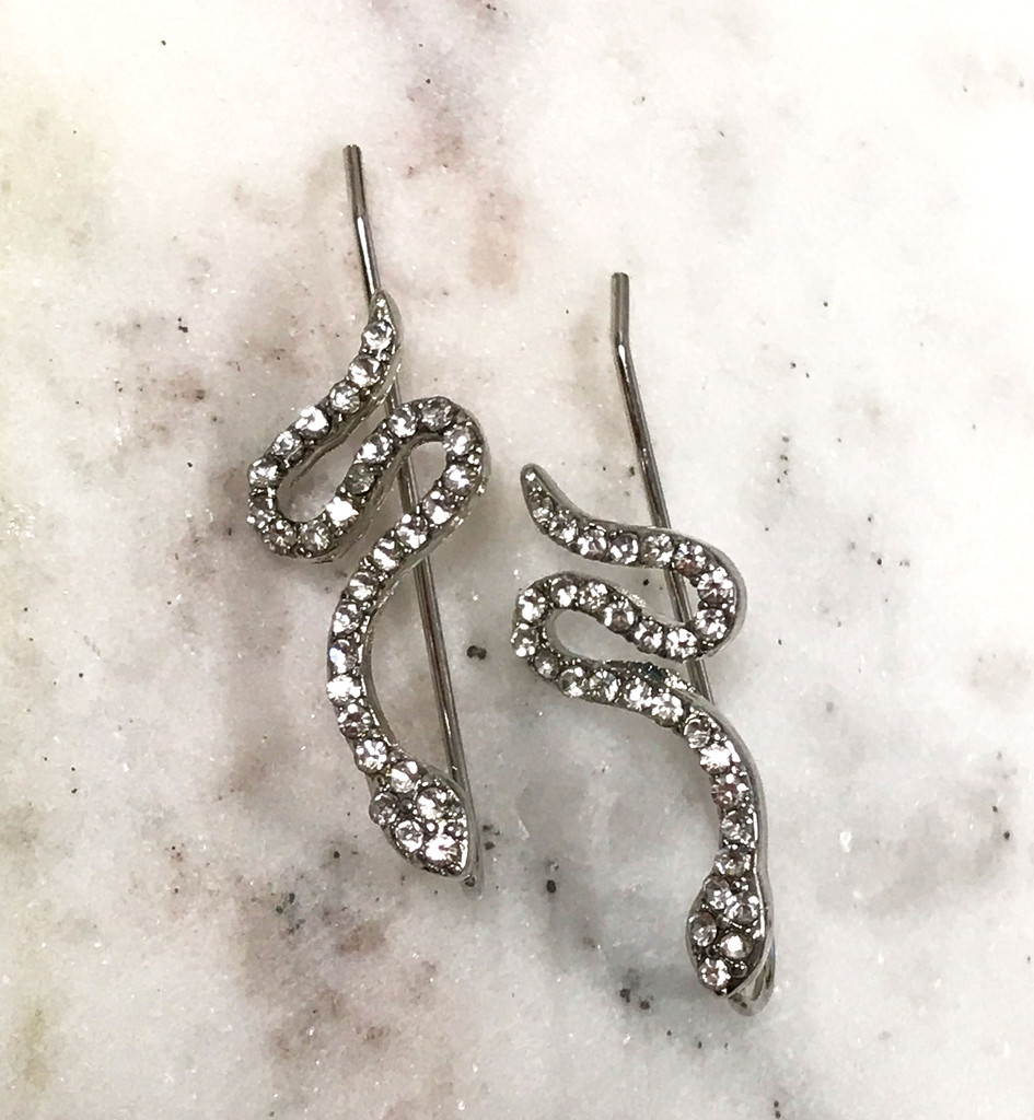 Cubic Zirconia Slithering Silver Snake Ear Crawler
