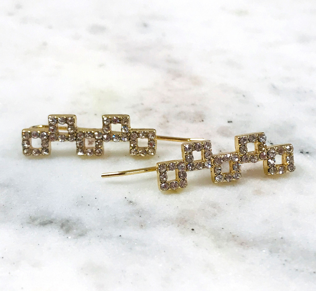 Cubic Zirconia Open Cube Linked Design Ear Crawlers