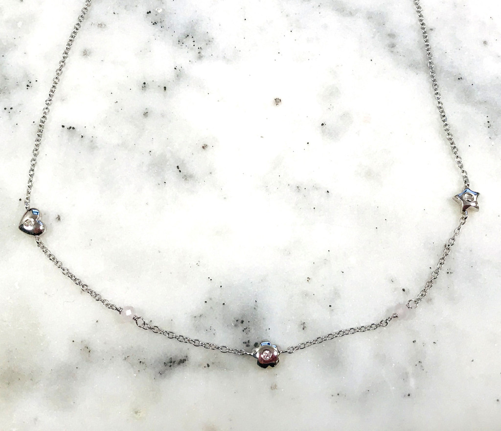 Sterling Silver Hearts & Stars Choker Necklace