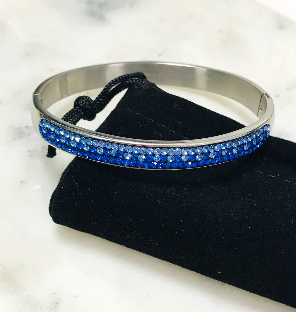 Sapphire Blue Ombre Cubic Zirconia Stainless Steel Bracelet