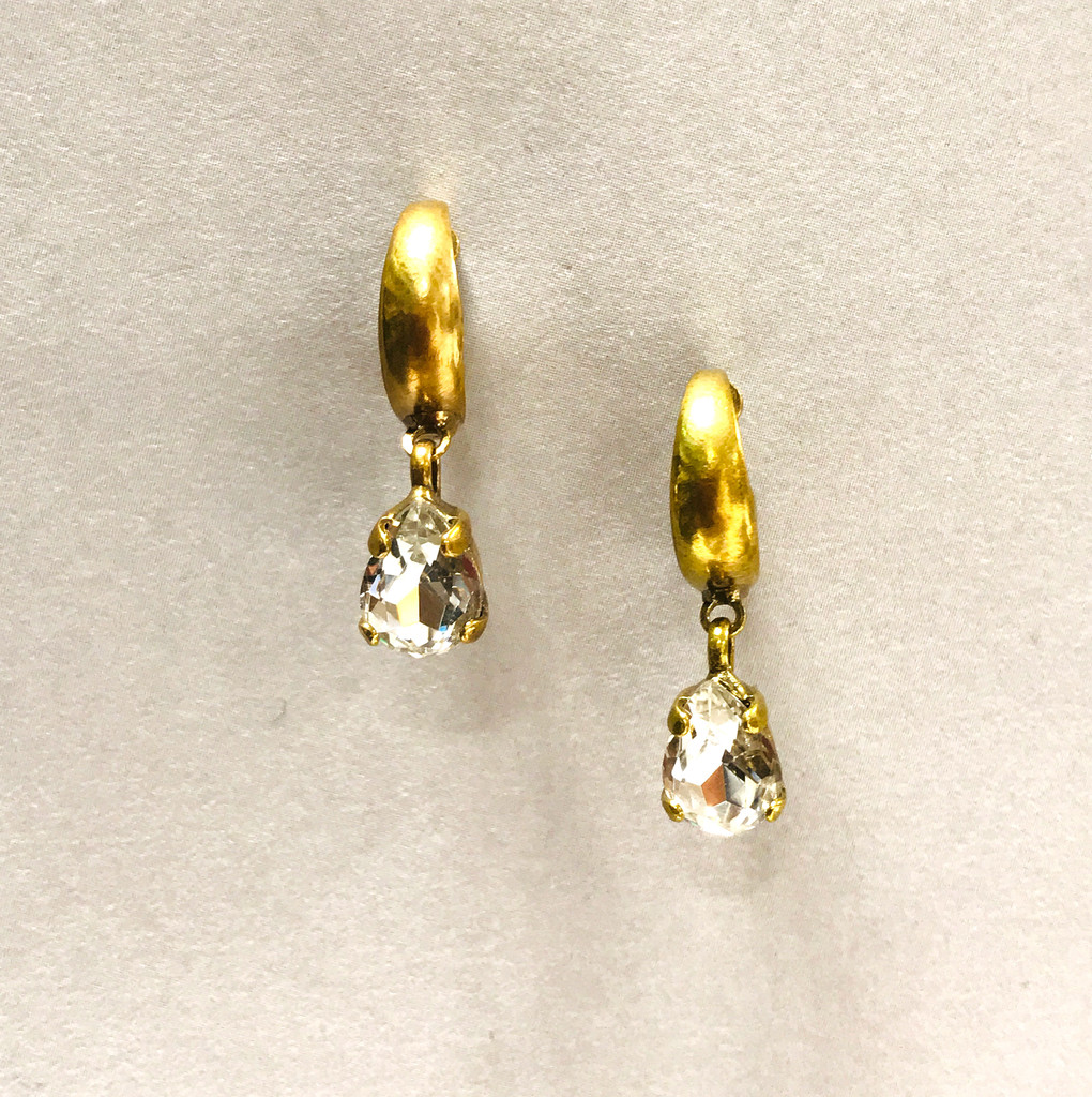 orrelli Simple Ant. Gold Hoop with Clear Crystal Drop Earring