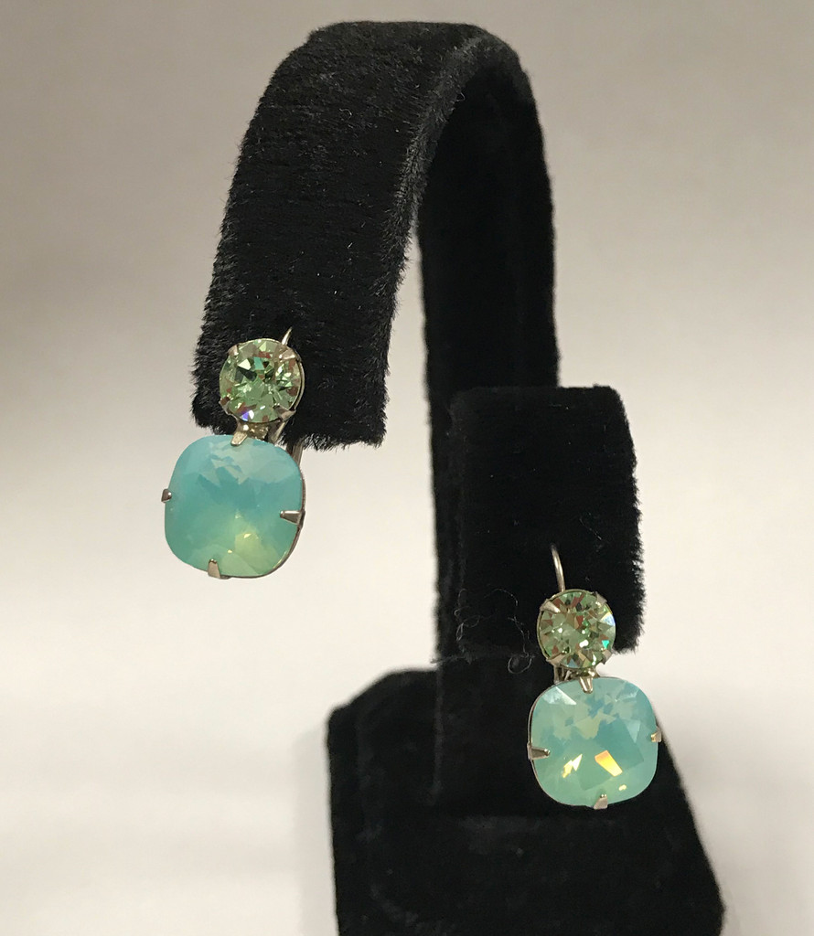 Sorrelli Double Crystal Ant. Silver Peridot and Pacific Opal Earring