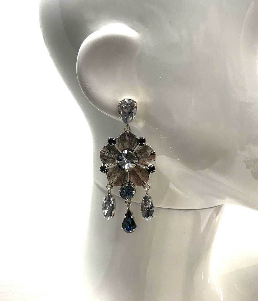 Frangos Sapphire & Montana Blue Swarovski Crystal Flower Earrings
