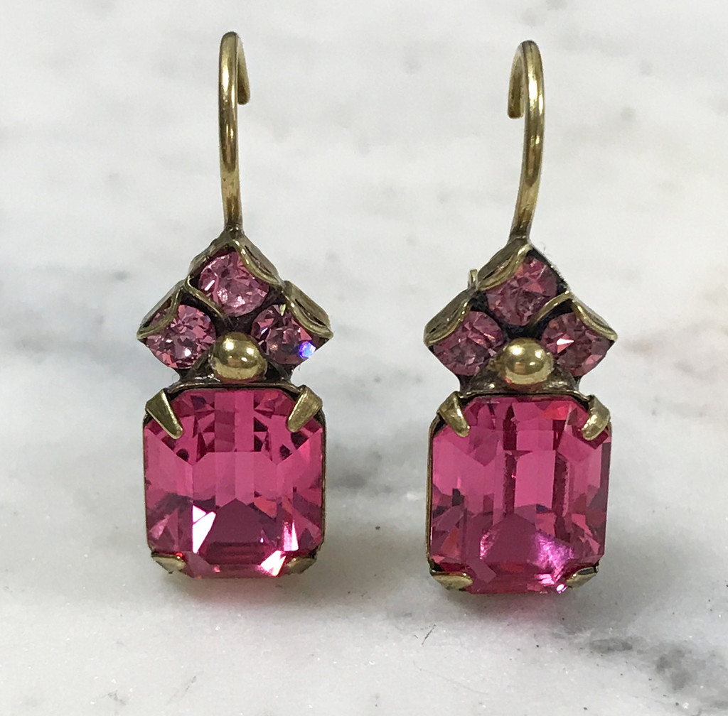 Sorrelli Antique Gold Pink Crystal Euro Wire Earring