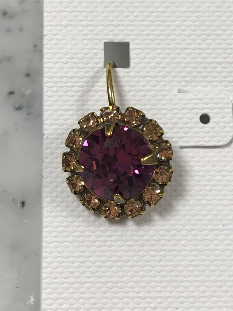 Amethyst Round Crystal French Wire Drop