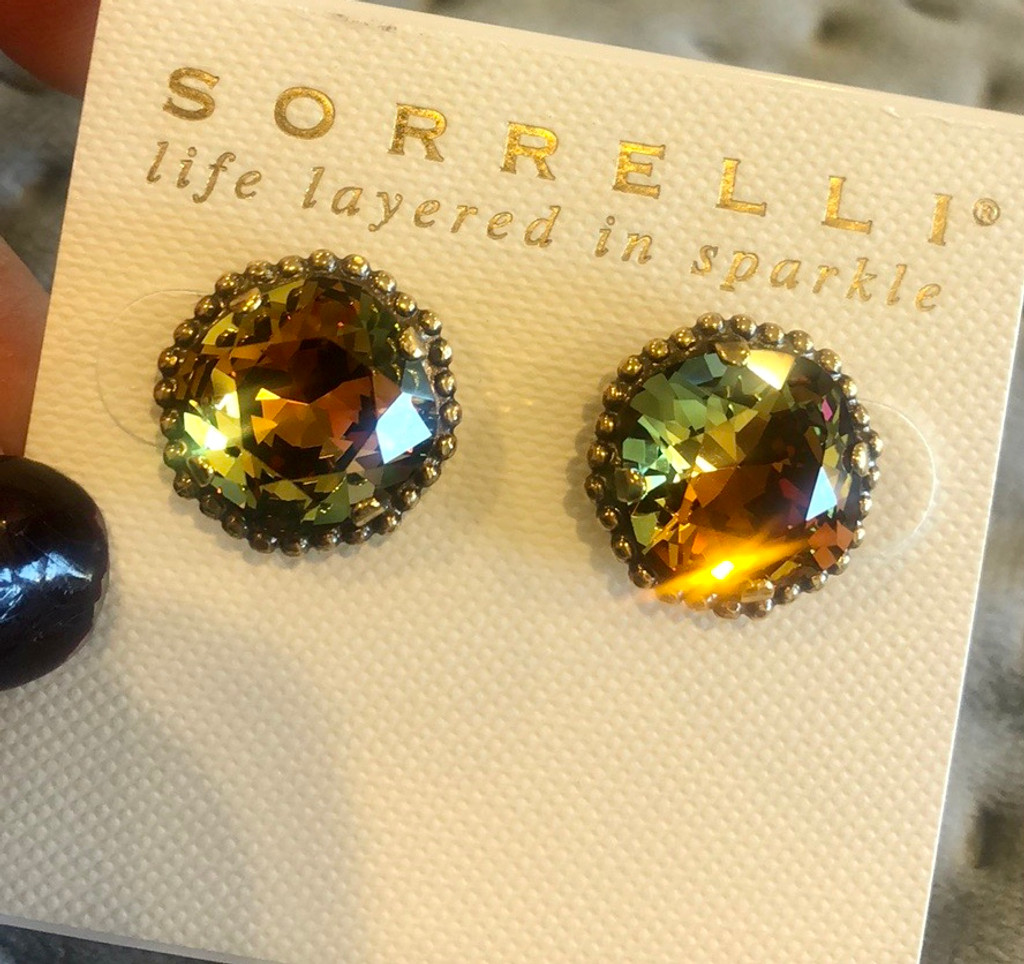 Sorrelli Autumn Hues Cushion Cut Earring. LAST PAIR!