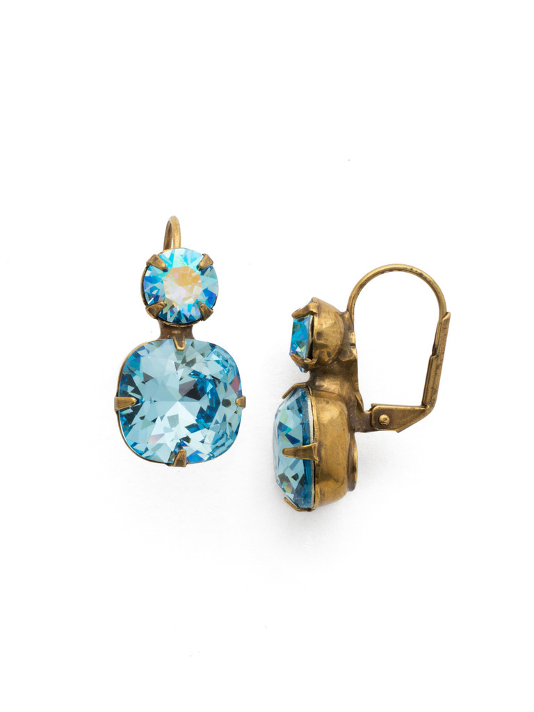 Sorrelli Aquamarine Double Crystal French Wire Earring