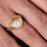 Round Glass Encased Crystal Ring S