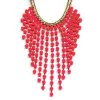 The Fringe Necklace in Hot Pink