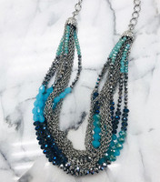 Crystals and Multi Chain Necklace