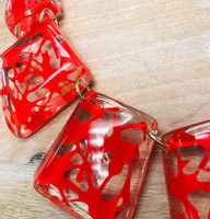 Clear Resin with Red Splatter Design