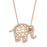 "Filigree Rose Gold ""Good Luck"" Elephant Necklace"
