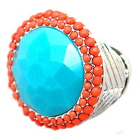 Large Round Turquoise and Coral Bauble Ring