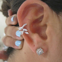 Stunning C.Z. Falling Leaves Ear Cuff