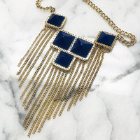 Squares and Fringe Necklace