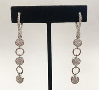 Linear Pave White Gold Vermeil Earring