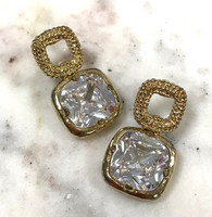 Large Square C.Z. Drop Earring