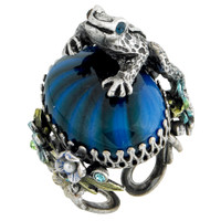 Frog Sitting on Vintage Blue Glass Ring