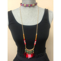 Bohemian Choker & Longer Bali Tassel Necklace Pink