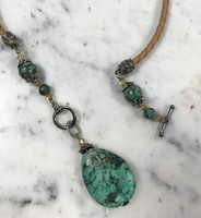 Leather Toggle with African Turquoise Pendant