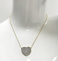 Gold Cubic Zirconia Flat Heart Necklace