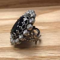 Jet Oval Surrounded by Crystals Ring