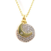 C.Z. Pave Disk with Moon Necklace